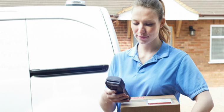 Woman delivers a parcel